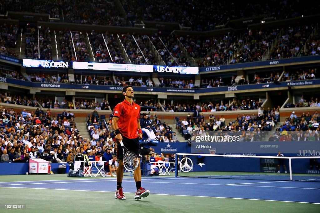 Novak Djokovic of Serbia reacts during his men's singles final match against Rafael Nadal of Spain on Day Fifteen of the 2013 US Open at the USTA Billie Jean King National Tennis Center on September 9, 2013 in the Flushing neighborhood of the Queens borough of New York City.