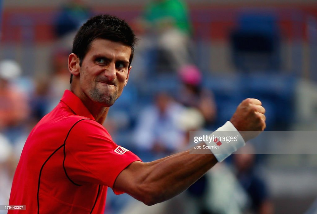 Novak Djokovic of Serbia reacts during his men's singles fourth round match against Marcel Granollers of Spain on Day Nine of the 2013 US Open at the USTA Billie Jean King National Tennis Center on September 3, 2013 in New York City.