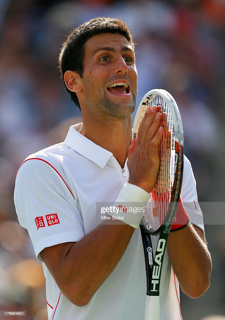 <a gi-track='captionPersonalityLinkClicked' href=/galleries/search?phrase=Novak+Djokovic&family=editorial&specificpeople=588315 ng-click='$event.stopPropagation()'>Novak Djokovic</a> of Serbia reacts during his men's singles semifinal match against Stanislas Wawrinka of Switzerland on Day Thirteen of the 2013 US Open at the USTA Billie Jean King National Tennis Center on September 7, 2013 in New York City.