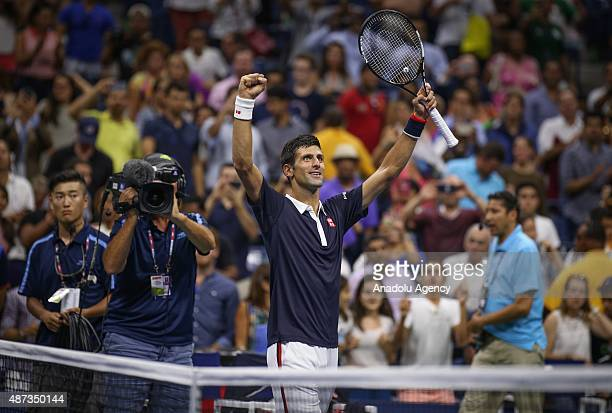 Novak Djokovic of Serbia reacts during Men's Singles Quarterfinals match against Feliciano Lopez of Spain on Day Nine of the 2015 US Open at the USTA...