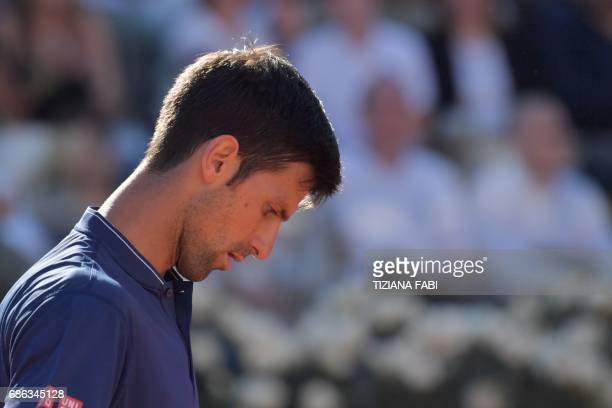 Novak Djokovic of Serbia reacts during the ATP Tennis Open final against Alexander Zverev of Germany on May 21 at the Foro Italico in Rome Germany's...