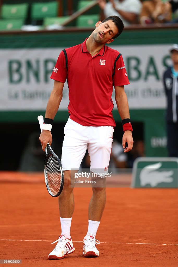 <a gi-track='captionPersonalityLinkClicked' href=/galleries/search?phrase=Novak+Djokovic&family=editorial&specificpeople=588315 ng-click='$event.stopPropagation()'>Novak Djokovic</a> of Serbia reacts during the Men's Singles third round match against Aljaz Bedene of Great Britain on day seven of the 2016 French Open at Roland Garros on May 28, 2016 in Paris, France.