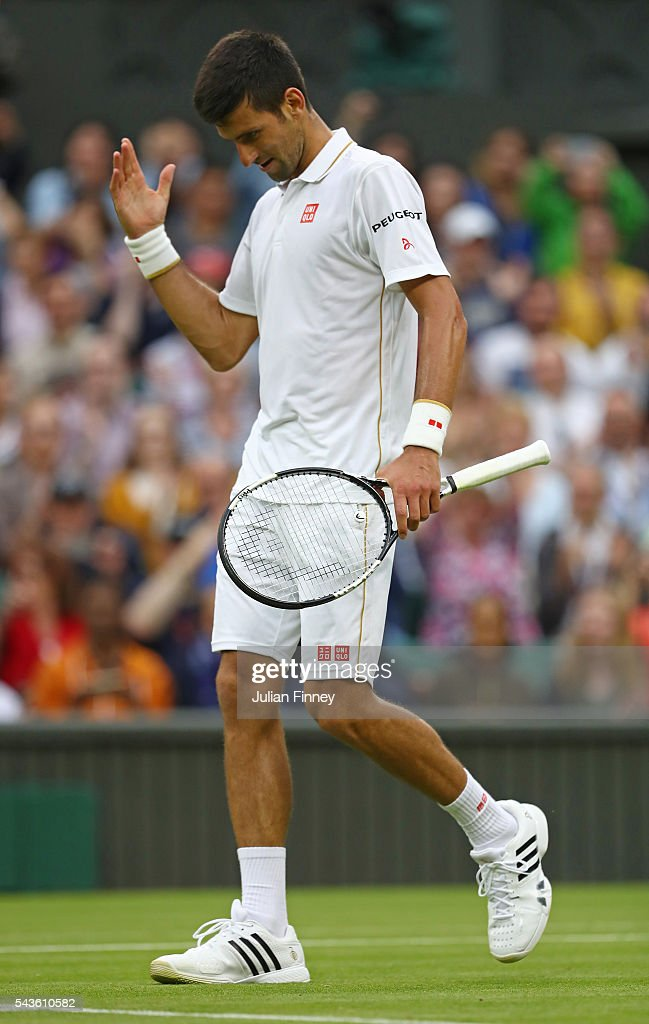 <a gi-track='captionPersonalityLinkClicked' href=/galleries/search?phrase=Novak+Djokovic&family=editorial&specificpeople=588315 ng-click='$event.stopPropagation()'>Novak Djokovic</a> of Serbia reacts following victory during the Men's Singles second round match against Adrian Mannarino of France on day three of the Wimbledon Lawn Tennis Championships at the All England Lawn Tennis and Croquet Club on June 29, 2016 in London, England.