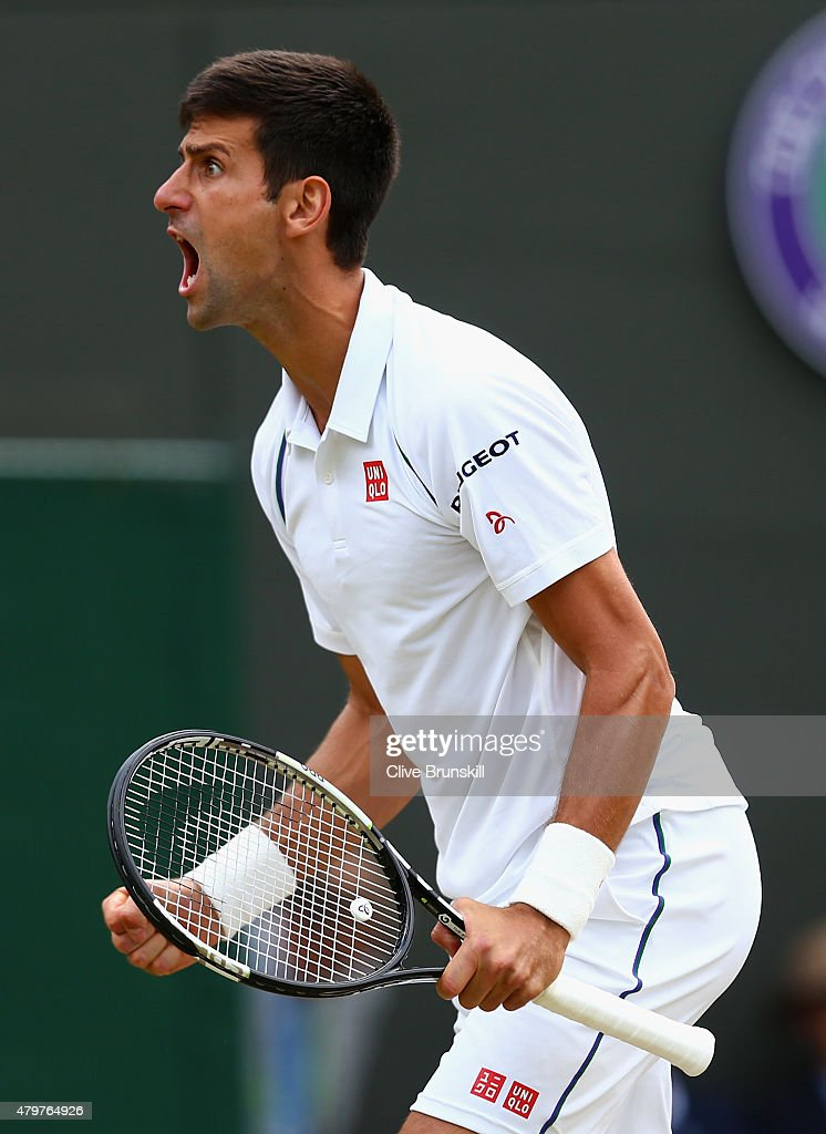 <a gi-track='captionPersonalityLinkClicked' href=/galleries/search?phrase=Novak+Djokovic&family=editorial&specificpeople=588315 ng-click='$event.stopPropagation()'>Novak Djokovic</a> of Serbia reacts in his Gentlemens Singles Fourth Round match against Kevin Anderson of South Africa during day eight of the Wimbledon Lawn Tennis Championships at the All England Lawn Tennis and Croquet Club on July 7, 2015 in London, England.