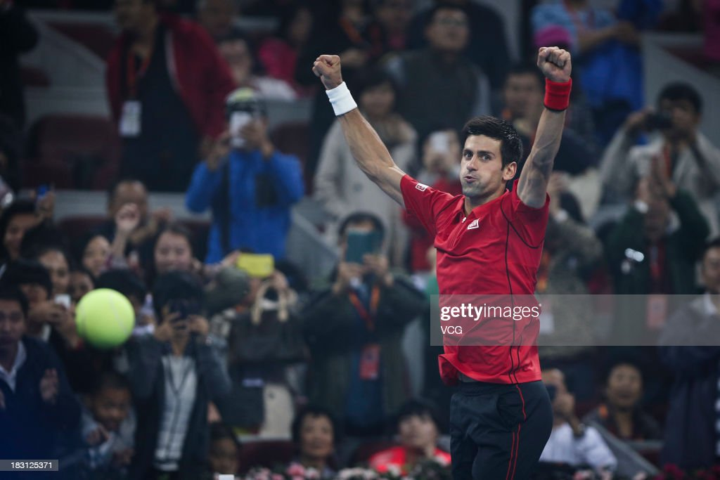 <a gi-track='captionPersonalityLinkClicked' href=/galleries/search?phrase=Novak+Djokovic&family=editorial&specificpeople=588315 ng-click='$event.stopPropagation()'>Novak Djokovic</a> of Serbia reacts in the match against Sam Querrey of the U.S. during day seven of the 2013 China Open at National Tennis Center on October 4, 2013 in Beijing, China.