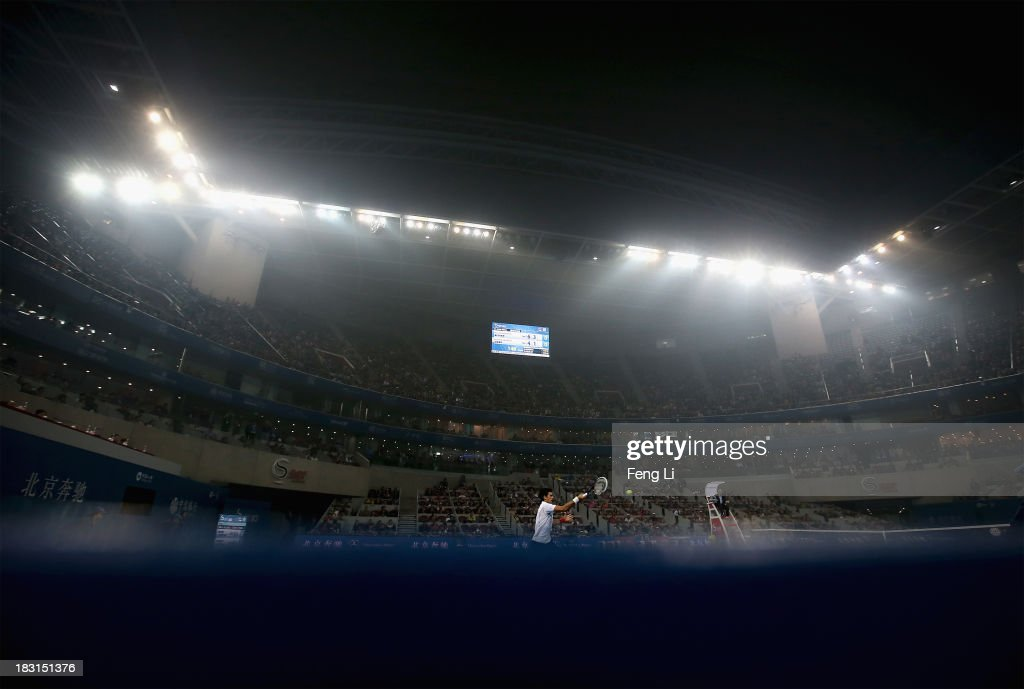 <a gi-track='captionPersonalityLinkClicked' href=/galleries/search?phrase=Novak+Djokovic&family=editorial&specificpeople=588315 ng-click='$event.stopPropagation()'>Novak Djokovic</a> of Serbia returns a shot against Richard Gasquet of France during severe pollution on their men's semi-final match of the 2013 China Open at the National Tennis Center on October 5, 2013 in Beijing, China.