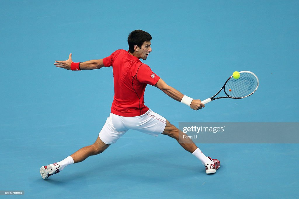 <a gi-track='captionPersonalityLinkClicked' href=/galleries/search?phrase=Novak+Djokovic&family=editorial&specificpeople=588315 ng-click='$event.stopPropagation()'>Novak Djokovic</a> of Serbia returns a shot during his men's singles match against Fernando Verdasco of Spain on day six of the 2013 China Open at the National Tennis Center on October 3, 2013 in Beijing, China.