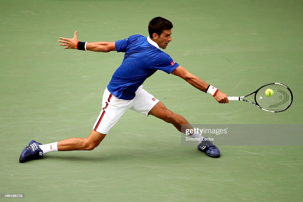 Novak Djokovic of Serbia returns a shot to Andreas Seppi of Italy during their Men's Singles Third Round match on Day Five of the 2015 US Open at the...