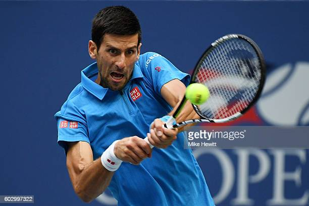 Novak Djokovic of Serbia returns a shot to Stan Wawrinka of Switzerland during their Men's Singles Final Match on Day Fourteen of the 2016 US Open at...