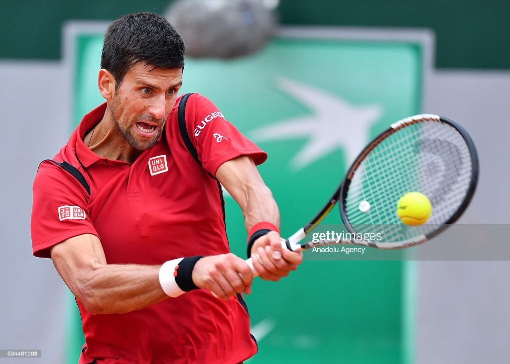 Novak Djokovic of Serbia returns to Steve Darcis (not seen) of Belgium during their men's single second round match at the French Open tennis tournament at Roland Garros in Paris, France on May 26, 2016.