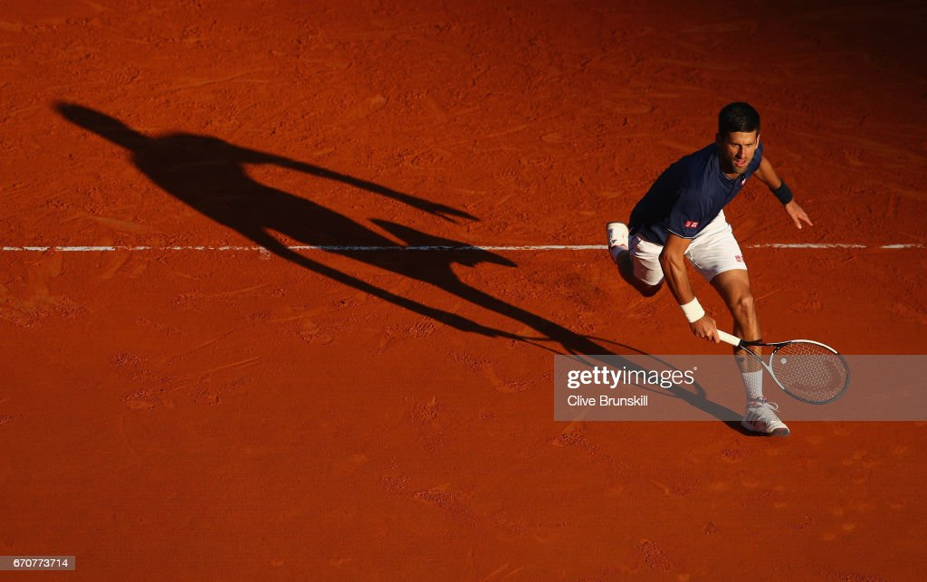 Novak Djokovic of Serbia runs to play a backhand volley against Pablo Carreno Busta of Spain in his third round match on day five of the Monte Carlo Rolex Masters at Monte-Carlo Sporting Club on April 20, 2017 in Monte-Carlo, Monaco.