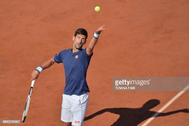 Novak Djokovic of Serbia serves against Alexander Zverev of Germany during the ATP Tennis Open final at the Foro Italico on May 21 2017 in Rome / AFP...