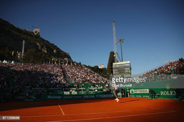 Novak Djokovic of Serbia serves against David Goffin of Belgium in their quarter final round match on day six of the Monte Carlo Rolex Masters at...