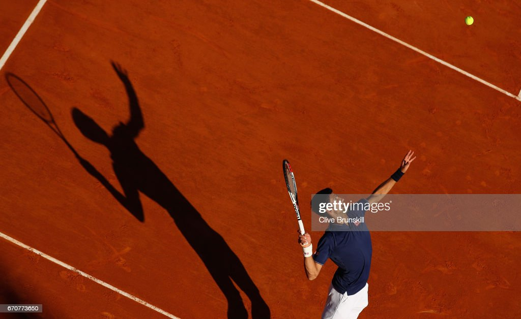 Novak Djokovic of Serbia serves against Pablo Carreno Busta of Spain in his third round match on day five of the Monte Carlo Rolex Masters at Monte-Carlo Sporting Club on April 20, 2017 in Monte-Carlo, Monaco.
