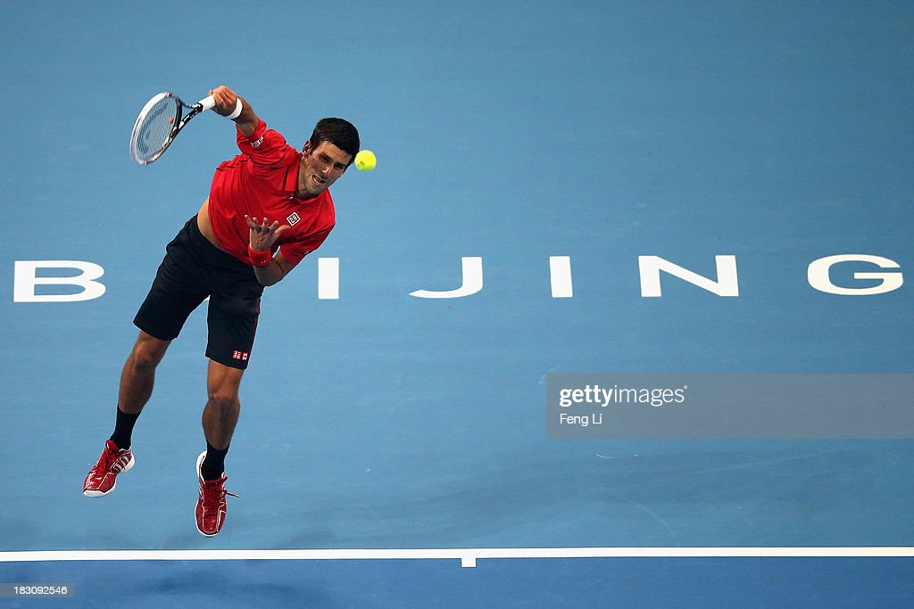 Novak Djokovic of Serbia serves during his men's quarter-final match against Sam Querrey of United States on day seven of the 2013 China Open at the National Tennis Center on October 4, 2013 in Beijing, China.