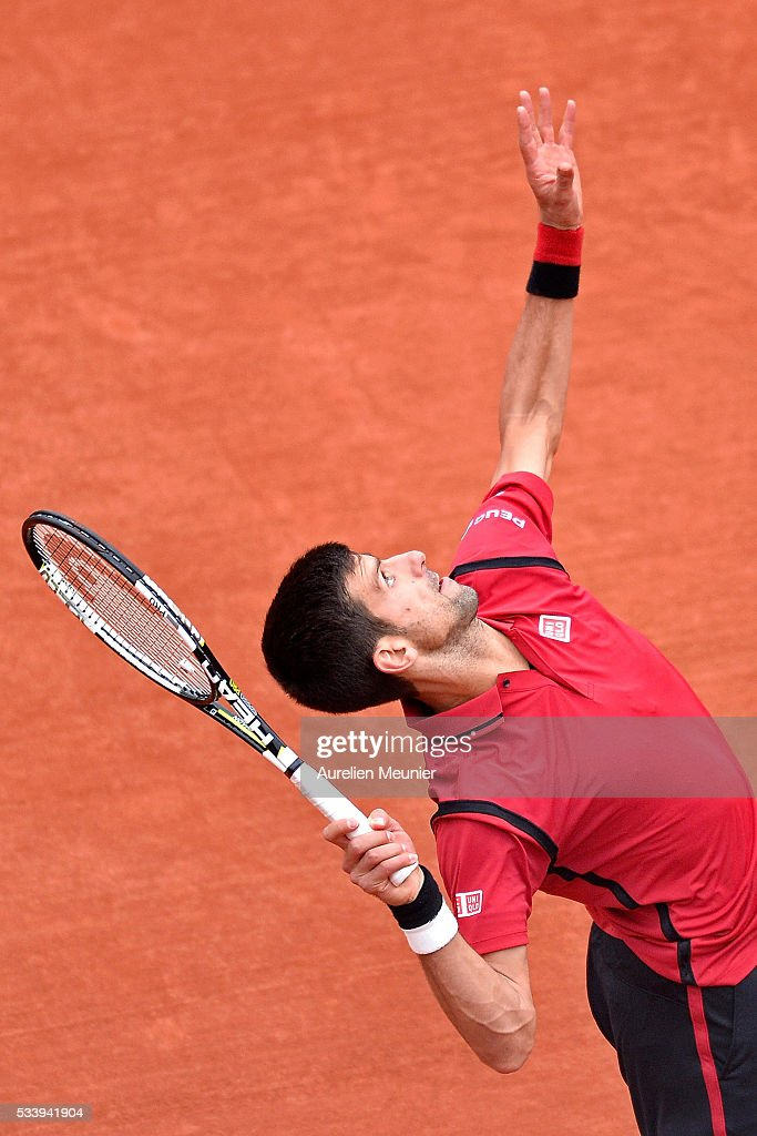 <a gi-track='captionPersonalityLinkClicked' href=/galleries/search?phrase=Novak+Djokovic&family=editorial&specificpeople=588315 ng-click='$event.stopPropagation()'>Novak Djokovic</a> of Serbia serves during his men's single first round match against Yen-Hsun Lu of Chinese Tapei at Roland Garros on May 24, 2016 in Paris, France.