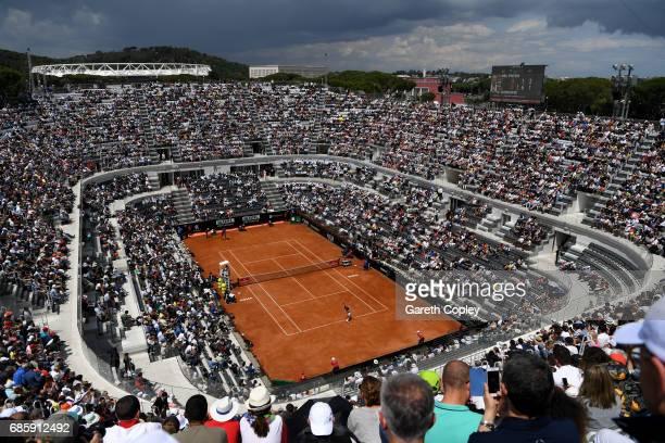 Novak Djokovic of Serbia serves during his quarter final match against Juan Martin Del Potro of Argentina in The Internazionali BNL d'Italia 2017 at...