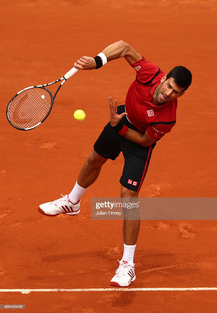 <a gi-track='captionPersonalityLinkClicked' href=/galleries/search?phrase=Novak+Djokovic&family=editorial&specificpeople=588315 ng-click='$event.stopPropagation()'>Novak Djokovic</a> of Serbia serves during the Men's Singles second round match against Steve Darcis of Belgium on day five of the 2016 French Open at Roland Garros on May 26, 2016 in Paris, France.