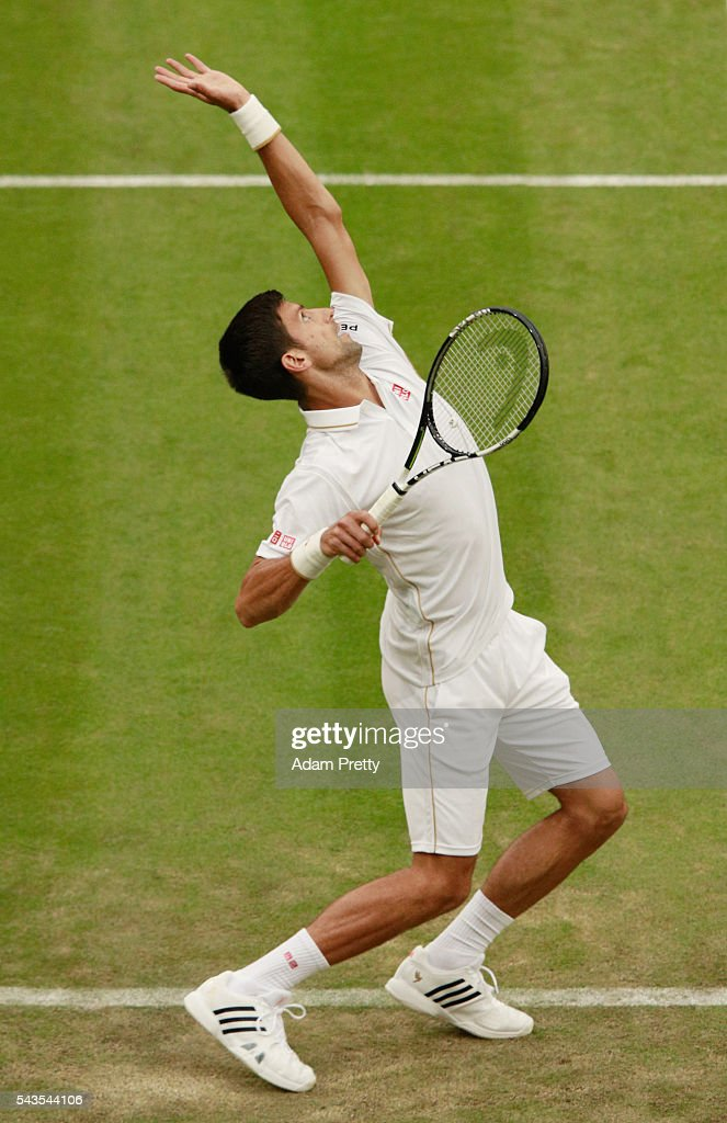 <a gi-track='captionPersonalityLinkClicked' href=/galleries/search?phrase=Novak+Djokovic&family=editorial&specificpeople=588315 ng-click='$event.stopPropagation()'>Novak Djokovic</a> of Serbia serves during the Men's Singles first round match against Adrian Mannarino of France on day three of the Wimbledon Lawn Tennis Championships at the All England Lawn Tennis and Croquet Club on June 29, 2016 in London, England.