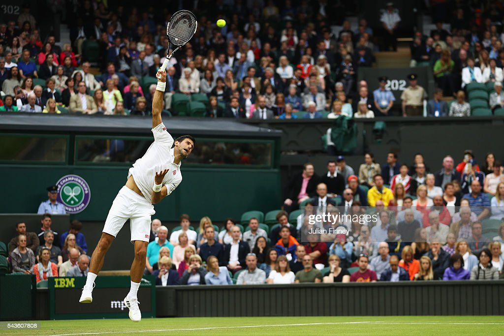 <a gi-track='captionPersonalityLinkClicked' href=/galleries/search?phrase=Novak+Djokovic&family=editorial&specificpeople=588315 ng-click='$event.stopPropagation()'>Novak Djokovic</a> of Serbia serves during the Men's Singles second round match against Adrian Mannarino of France on day three of the Wimbledon Lawn Tennis Championships at the All England Lawn Tennis and Croquet Club on June 29, 2016 in London, England.
