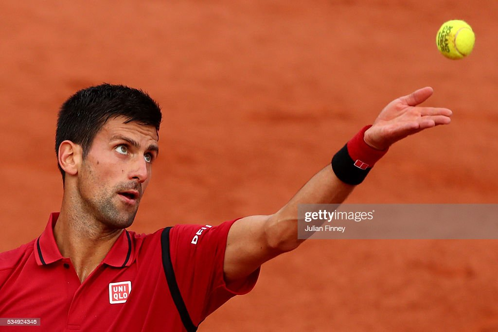 <a gi-track='captionPersonalityLinkClicked' href=/galleries/search?phrase=Novak+Djokovic&family=editorial&specificpeople=588315 ng-click='$event.stopPropagation()'>Novak Djokovic</a> of Serbia serves during the Men's Singles third round match against Aljaz Bedene of Great Britain on day seven of the 2016 French Open at Roland Garros on May 28, 2016 in Paris, France.