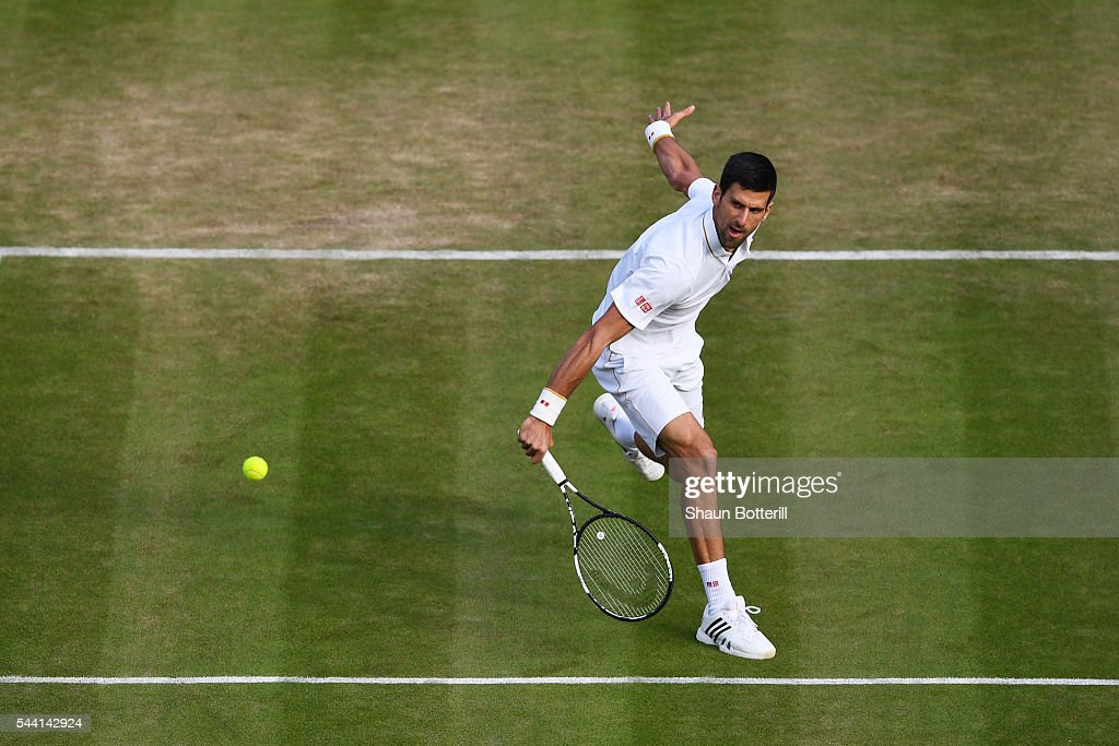 <a gi-track='captionPersonalityLinkClicked' href=/galleries/search?phrase=Novak+Djokovic&family=editorial&specificpeople=588315 ng-click='$event.stopPropagation()'>Novak Djokovic</a> of Serbia serves during the Men's Singles third round match against Sam Querrey of The United States on day five of the Wimbledon Lawn Tennis Championships at the All England Lawn Tennis and Croquet Club on July 1, 2016 in London, England.
