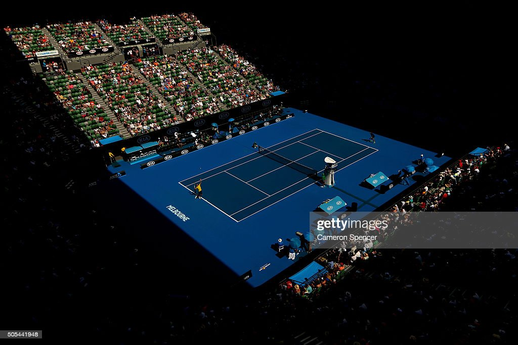 Novak Djokovic of Serbia serves in his first round match against Hyeon Chung of Korea during day one of the 2016 Australian Open at Melbourne Park on...