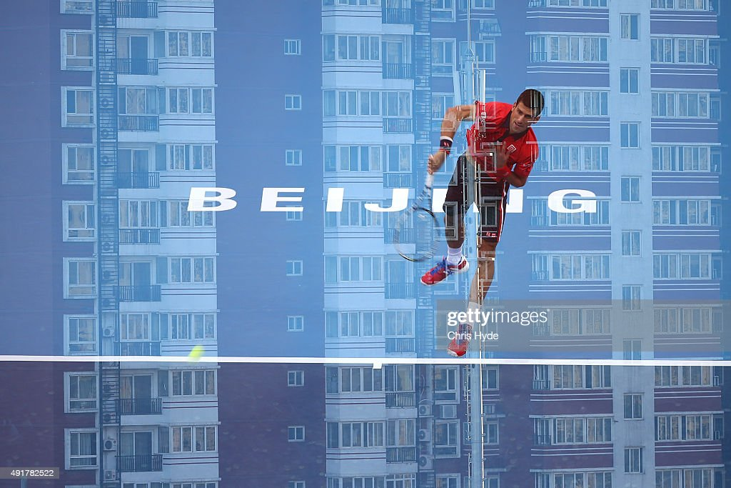 Novak Djokovic of Serbia serves in his match against Ze Zhang of China on day 6 of the 2015 China Open at the National Tennis Centre on October 8, 2015 in Beijing, China.
