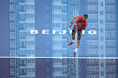 Novak Djokovic of Serbia serves in his match against Ze Zhang of China on day 6 of the 2015 China Open at the National Tennis Centre on October 8...