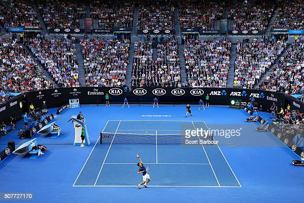 Novak Djokovic of Serbia serves in his Men's Singles Final match against Andy Murray of Great Britain during day 14 of the 2016 Australian Open at...