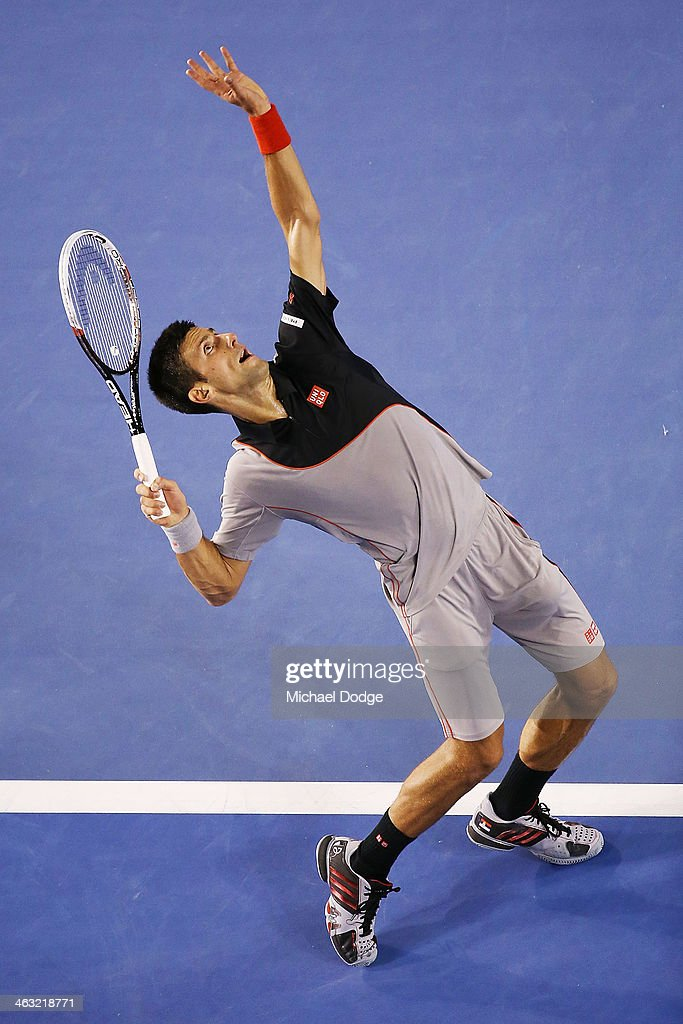 Novak Djokovic of Serbia serves in his third round match against Denis Istomin of Uzbekistan during day five of the 2014 Australian Open at Melbourne Park on January 17, 2014 in Melbourne, Australia.