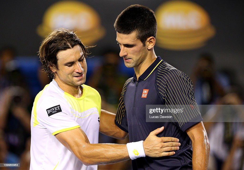 <a gi-track='captionPersonalityLinkClicked' href=/galleries/search?phrase=Novak+Djokovic&family=editorial&specificpeople=588315 ng-click='$event.stopPropagation()'>Novak Djokovic</a> of Serbia shakes hands with David Ferrer of Spain after Djokovic won their Semifinal match against during day eleven of the 2013 Australian Open at Melbourne Park on January 24, 2013 in Melbourne, Australia.