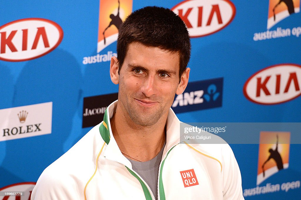 Novak Djokovic of Serbia speaks to the media during a press conference after winning his third round match during day five of the 2013 Australian Open at Melbourne Park on January 18, 2013 in Melbourne, Australia.