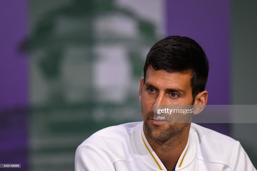 <a gi-track='captionPersonalityLinkClicked' href=/galleries/search?phrase=Novak+Djokovic&family=editorial&specificpeople=588315 ng-click='$event.stopPropagation()'>Novak Djokovic</a> of Serbia speaks to the media during a press conference prior to the Wimbledon Lawn Tennis Championships at the All England Lawn Tennis and Croquet Club on June 26, 2016 in London, England.