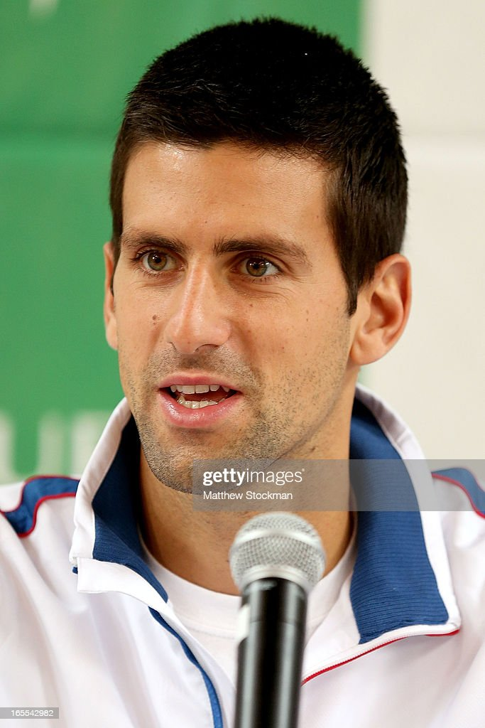 Novak Djokovic of Serbia speaks to the media during the draw ceremony at the Boise Depot on April 4, 2013 in Boise, Idaho.