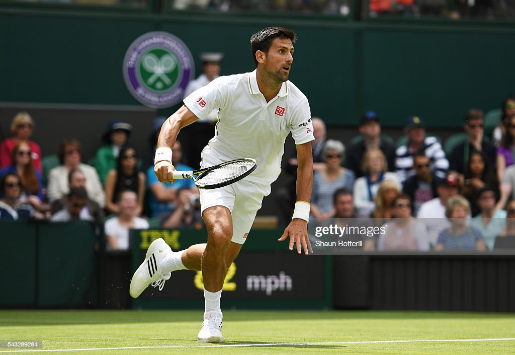 <a gi-track='captionPersonalityLinkClicked' href=/galleries/search?phrase=Novak+Djokovic&family=editorial&specificpeople=588315 ng-click='$event.stopPropagation()'>Novak Djokovic</a> of Serbia sprints to the net during the Men's Singles first round match against James Ward od Great Britain on day one of the Wimbledon Lawn Tennis Championships at the All England Lawn Tennis and Croquet Club on June 27th, 2016 in London, England.