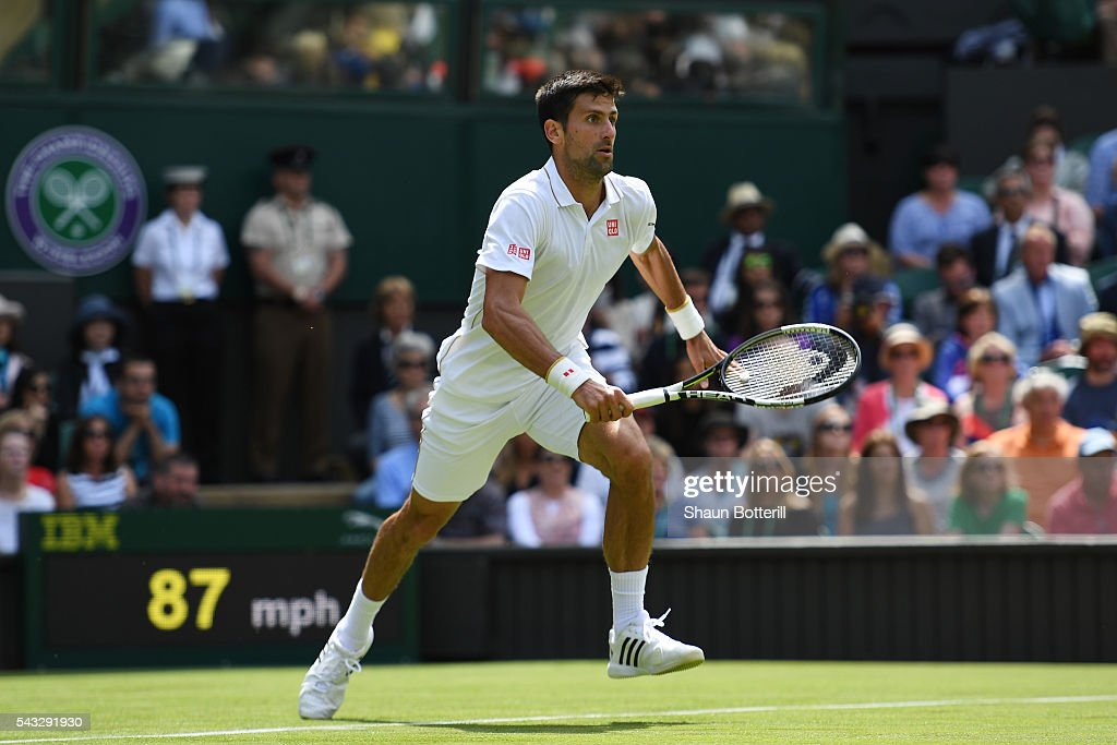 <a gi-track='captionPersonalityLinkClicked' href=/galleries/search?phrase=Novak+Djokovic&family=editorial&specificpeople=588315 ng-click='$event.stopPropagation()'>Novak Djokovic</a> of Serbia sprints to the net during the Men's Singles first round against James Ward od Great Britain on day one of the Wimbledon Lawn Tennis Championships at the All England Lawn Tennis and Croquet Club on June 27th, 2016 in London, England.