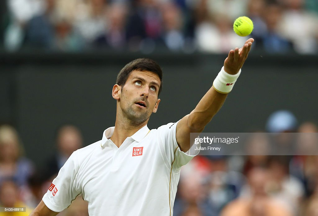 <a gi-track='captionPersonalityLinkClicked' href=/galleries/search?phrase=Novak+Djokovic&family=editorial&specificpeople=588315 ng-click='$event.stopPropagation()'>Novak Djokovic</a> of Serbia sserves during the Men's Singles second round match against Adrian Mannarino of France on day three of the Wimbledon Lawn Tennis Championships at the All England Lawn Tennis and Croquet Club on June 29, 2016 in London, England.