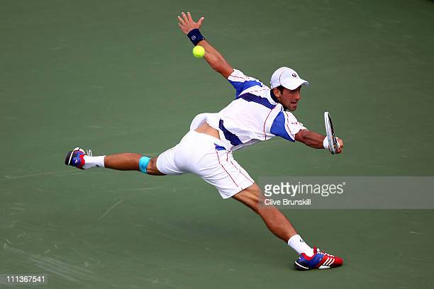 Novak Djokovic of Serbia stretches for a return against Mardy Fish during their semifinal match at the Sony Ericsson Open at Crandon Park Tennis...
