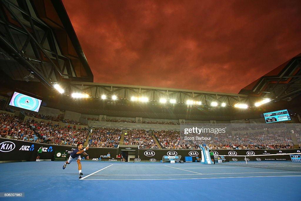 Novak Djokovic of Serbia stretches for a return of serve in his third round match against Andreas Seppi of Italy during day five of the 2016 Australian Open at Melbourne Park on January 22, 2016 in Melbourne, Australia.