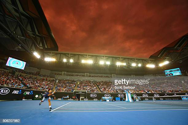 Novak Djokovic of Serbia stretches for a return of serve in his third round match against Andreas Seppi of Italy during day five of the 2016...