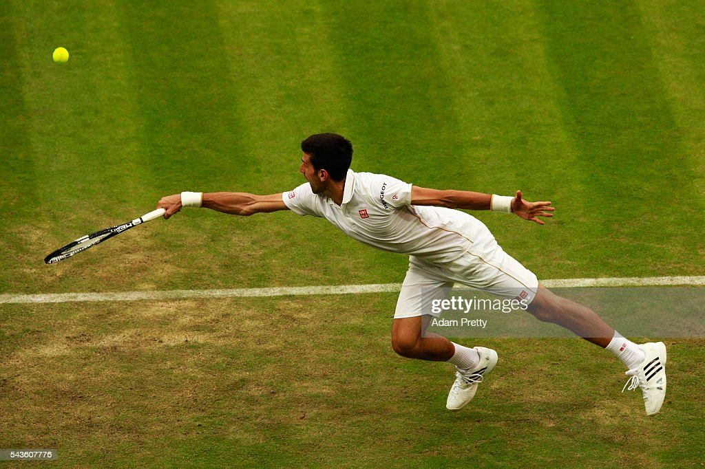 <a gi-track='captionPersonalityLinkClicked' href=/galleries/search?phrase=Novak+Djokovic&family=editorial&specificpeople=588315 ng-click='$event.stopPropagation()'>Novak Djokovic</a> of Serbia stretches to play a forehand during the Men's Singles second round match against Adrian Mannarino of France on day three of the Wimbledon Lawn Tennis Championships at the All England Lawn Tennis and Croquet Club on June 29, 2016 in London, England.