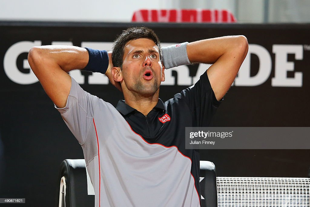 Novak Djokovic of Serbia takes a break in his match against Philipp Kohlshreiber of Germany during day five of the Internazionali BNL d'Italia tennis 2014 on May 15, 2014 in Rome, Italy.