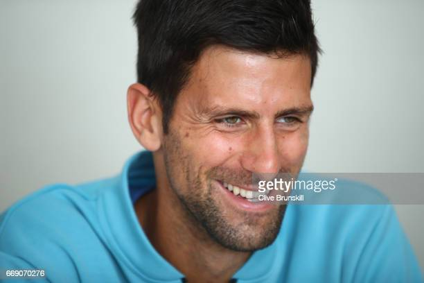 Novak Djokovic of Serbia talks to the media during a press conference on day one of the Monte Carlo Rolex Masters at MonteCarlo Sporting Club on...