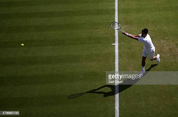 Novak Djokovic of Serbia trains on day one of the Wimbledon tennis tournament on June 29 2015 in London England The 129th tournament to be hosted at...