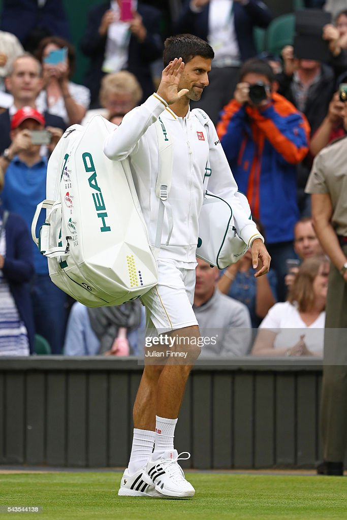 <a gi-track='captionPersonalityLinkClicked' href=/galleries/search?phrase=Novak+Djokovic&family=editorial&specificpeople=588315 ng-click='$event.stopPropagation()'>Novak Djokovic</a> of Serbia walks out onto court prior to the Men's Singles first round match against Adrian Mannarino of France on day three of the Wimbledon Lawn Tennis Championships at the All England Lawn Tennis and Croquet Club on June 29, 2016 in London, England.