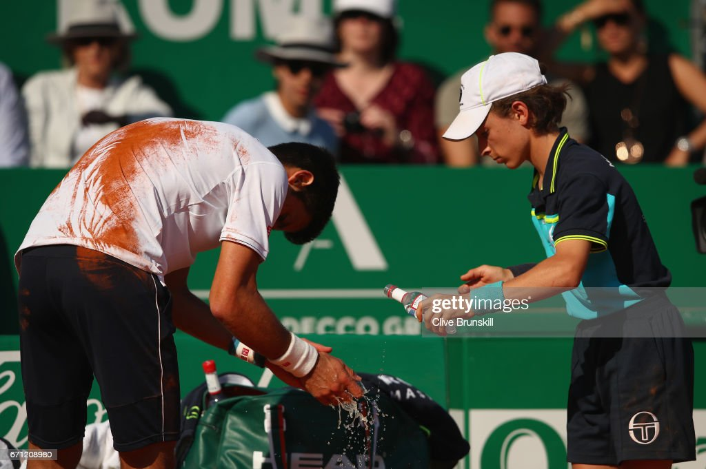 Novak Djokovic of Serbia washes his hands after falling over against David Goffin of Belgium in their quarter final round match on day six of the Monte Carlo Rolex Masters at Monte-Carlo Sporting Club on April 21, 2017 in Monte-Carlo, Monaco.