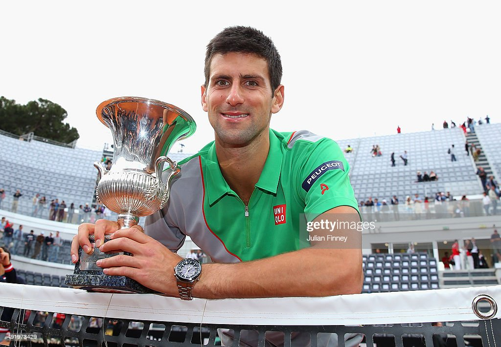Novak Djokovic of Serbia with the trophy after defeating Rafael Nadal of Spain in the final during day eight of the Internazionali BNL d'Italia tennis 2014 on May 18, 2014 in Rome, Italy.