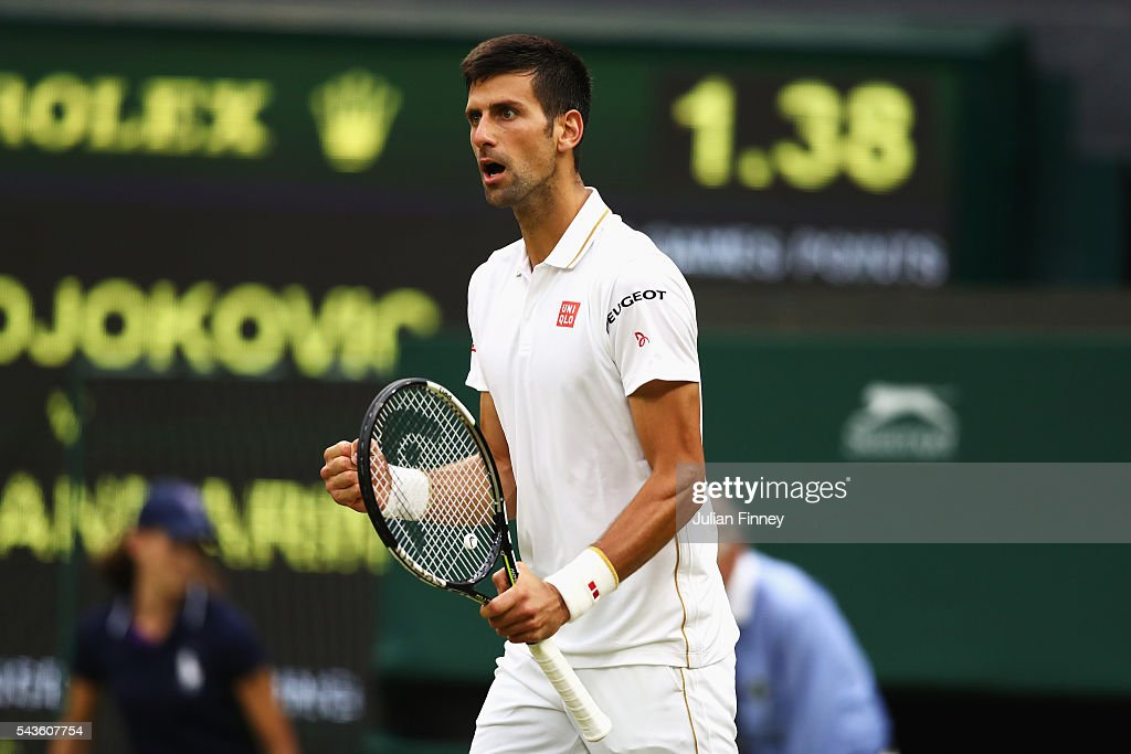 <a gi-track='captionPersonalityLinkClicked' href=/galleries/search?phrase=Novak+Djokovic&family=editorial&specificpeople=588315 ng-click='$event.stopPropagation()'>Novak Djokovic</a> of Serbiacelebrates during the Men's Singles second round match against Adrian Mannarino of France on day three of the Wimbledon Lawn Tennis Championships at the All England Lawn Tennis and Croquet Club on June 29, 2016 in London, England.