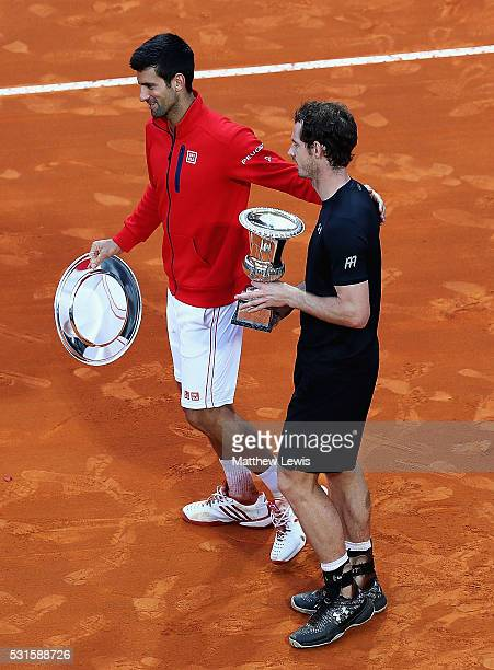Novak Djokovic of Serbiacongratulates Andy Murray of Great Britain on his win after the Mens Singles Final during day eight of The Internazionali BNL...